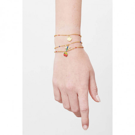Braided wheat, poppy and reconstituted stone bangle (M)
