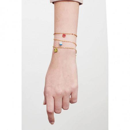 Sautoir pierres rondes et chaînes beige rosé
