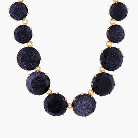 Boucles d'oreilles clip grappe de perles et verre taillé bleu