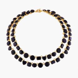 Colliers Plastrons Collier Luxe Deux Rangs La Diamantine Bleu Nuit Pailleté590,00€ AMLD355/1Les Néréides