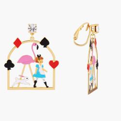 Boucles D'oreilles Originales Créoles Clip Alice Et Flamant Rose80,00€ AMAL105C/1N2 by Les Néréides