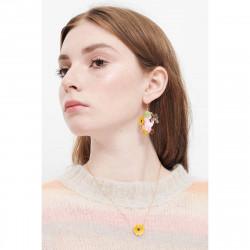Boucles d'oreilles clip pierre ronde paillettée et œil protecteur