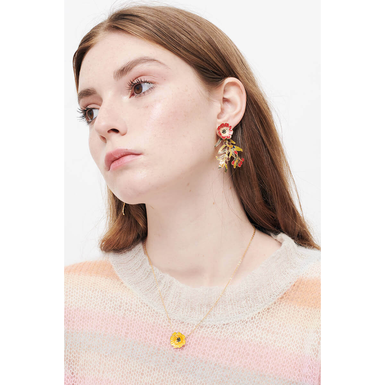 Boucles d'oreilles pierre ronde paillettée et œil protecteur