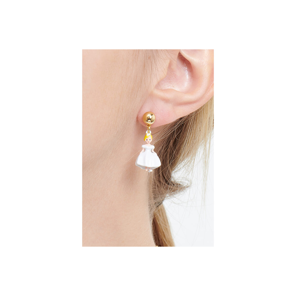 Boucles d'oreilles clip couple de hiboux sur branche sa feuillue et petit cœur