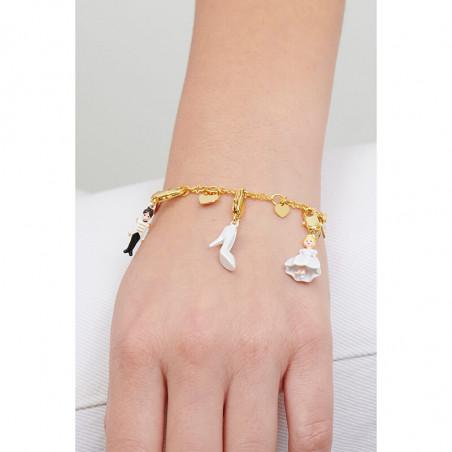 White asymmetrical blond ballerina clip earrings