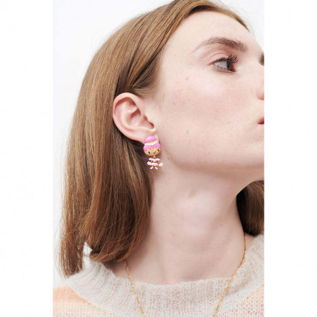 Rock heap of golden cubes earrings