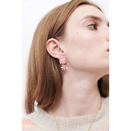 Boucles d'oreilles verre taillé rectangulaire bleu, amas de roches en cubes dorés et perle