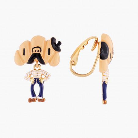 Boucles d'oreilles chaîne et fermoir chaîne et perle