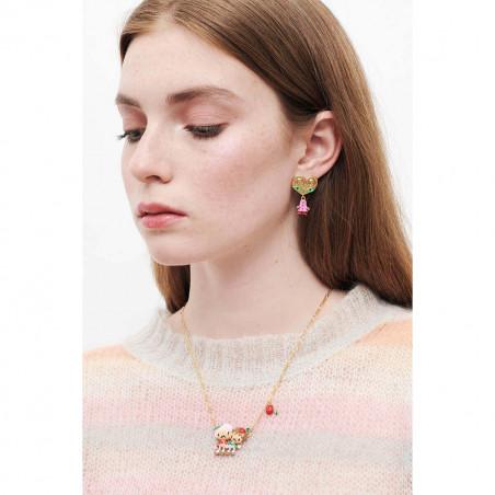 Bracelet jonc perles, amas de roches en cubes dorés et de verre taillé (S)