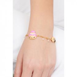 Bague 2 anneaux amas de roches en cubes dorés et strass