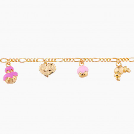 Boucles d'oreilles fleur rose, petites feuilles et strass
