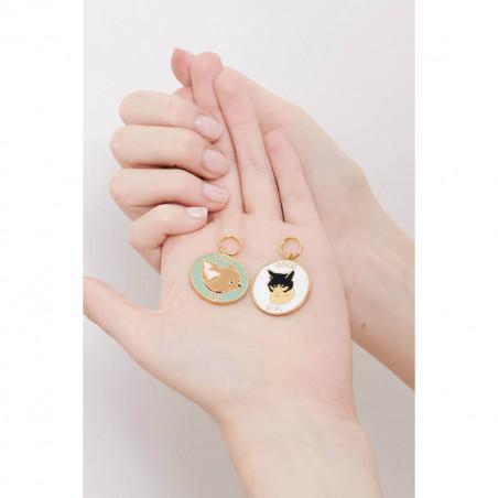 Boucles d'oreilles petite pierre ronde vert sapin