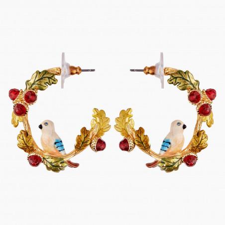 Boucles d'oreilles 3 pierres rondes vert sapin et chaîne