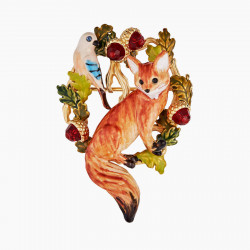 Fox Cub And Jay Brooch