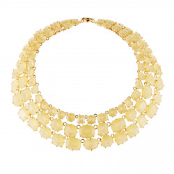 Colliers Plastrons Collier Luxe 3 Rangs Jaune Citrine