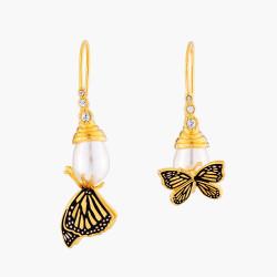 Boucles D'oreilles Dormeuses Boucles D'oreilles Dormeuses Asymétriques Papillon Et Perle120,00€ AMEN103D/1Les Néréides