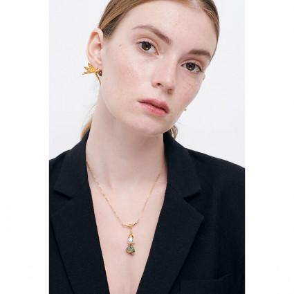 Boucles d'oreilles fleur dorée et fermoir perlé