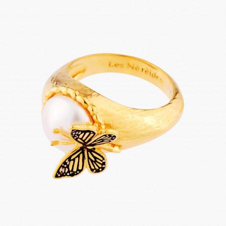 Bracelet mûres noire et dorée et petite feuille