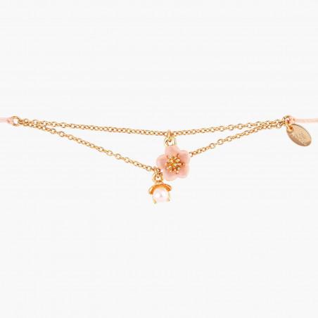 Golden flower and acorn adjustable ring