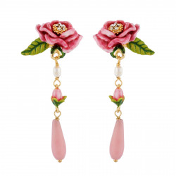 Earrings With Pink Flower,...