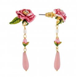 Boucles D'oreilles Pendantes Boucles D'oreilles Fleur Rose, Petit Bouton Et Goutte95,00€ AHPV101T/1Les Néréides