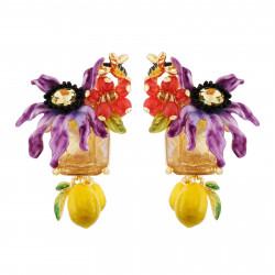 Boucles D'oreilles Tiges Boucles D'oreilles Fleur Violette Sur Verre Taillé Et Citrons125,00€ AHPV102T/1Les Néréides