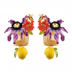 Earrings With Purple Flower...