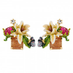 Boucles D'oreilles Tiges Boucles D'oreilles Fleur Blanche Sur Verre Taillé, Papillon Et Strass130,00€ AHPV104T/1Les Néréides