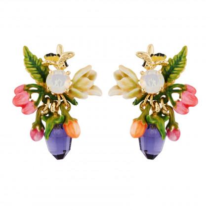 Boucles D'oreilles Tiges Boucles D'oreilles Baies, Abeille Sur Verre Taillé Et Fleur Blanche90,00€ AHPV107T/1Les Néréides