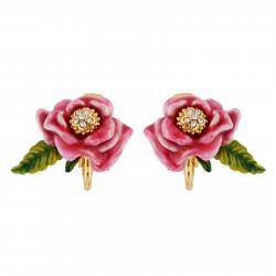 Pendientes Clip Flor Rosa Y...