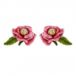 Pink Flower And Leaf Earrings