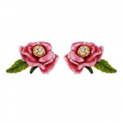 Pink Flower And Leaf Earrings