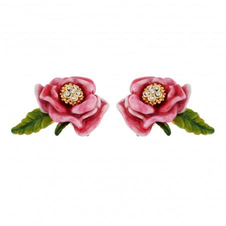 """Collier """"Love"""" petit strass et bouton de rose"""