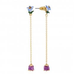 Boucles D'oreilles Pendantes Boucles D'oreilles Fleur Bleue, Chaîne Et Petite Clochette Violette75,00€ AHPV117T/1Les Néréides