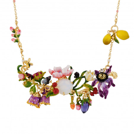 Flowered letter X necklace