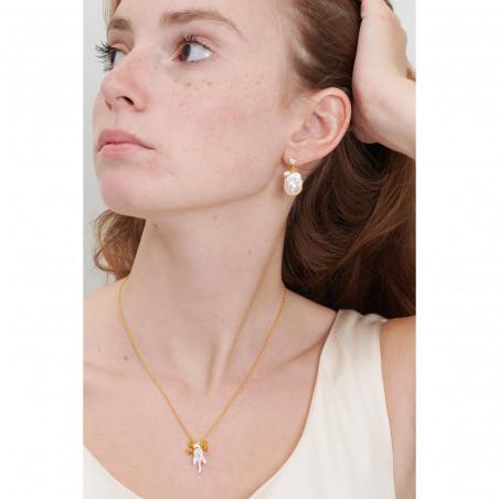 Boucles d'oreilles grande fleur rose et verre taillé