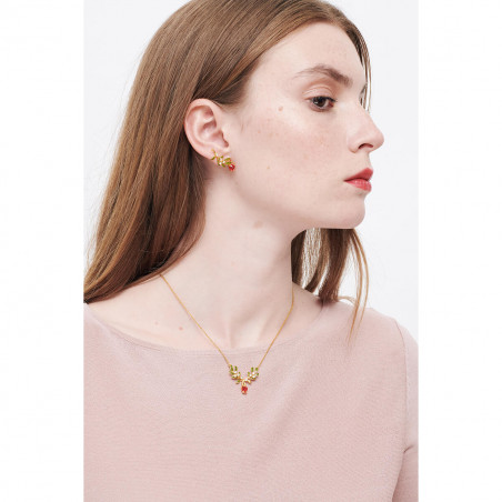 "Collier ""Love"" petit strass et bouton de rose"