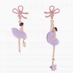 Boucles D'oreilles Pendantes Boucles D'oreilles Asymétriques Tiges Ballerine Et Ruban Lilas90,00€ ALDD108T/1Les Néréides