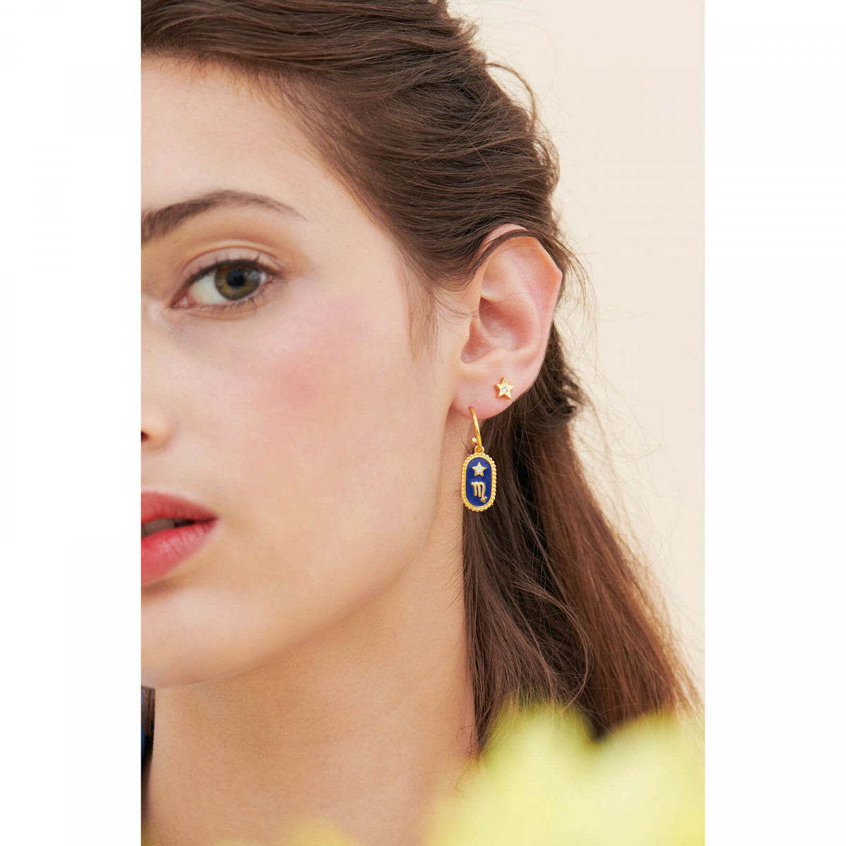Black faceted glass, leaves and golden blackberry French hook earrings