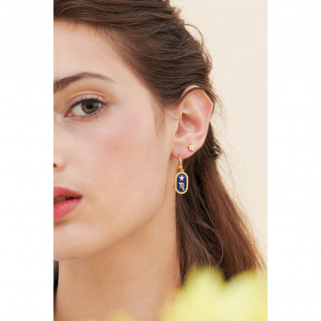 Square marbled and round glittered stones clip earrings