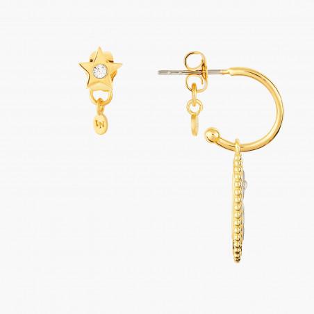 Boucles d'oreilles clip pierre carrée marbrée et petite pierre ronde pailletée