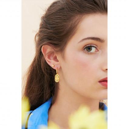 Boucles d'oreilles clip chien coquet et pierre fuchsia