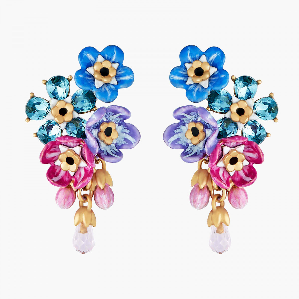 Boucles D'oreilles Pendantes Boucles D'oreilles Tiges Grappe De Myosotis Et Boutons De Roses150,00€ ANBM101T/1Les Néréides