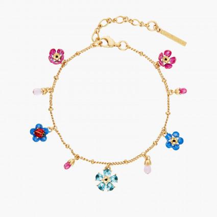 Bracelets Charms Bracelet Charms Fleur De Cristal Taillé, Myosotis Et Coccinelle130,00€ ANBM202/1Les Néréides