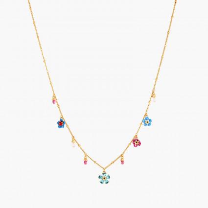 Colliers Fins Collier Fin Fleur De Cristal Taillé Myosotis Et Coccinelle160,00€ ANBM302/1Les Néréides