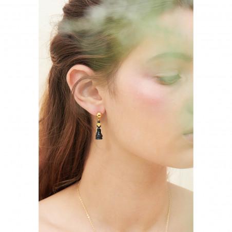 Boucles d'oreilles clip pierre ronde marbrée et œil protecteur