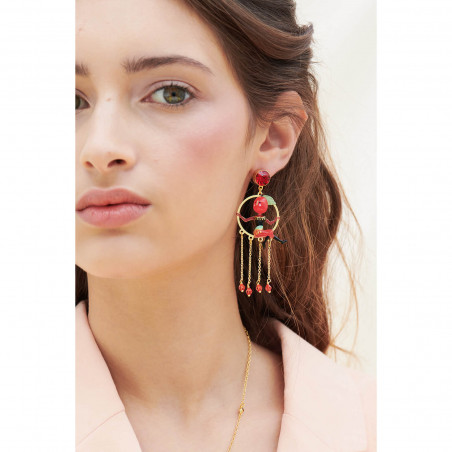 Large sienna round stone earrings