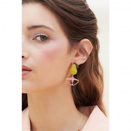 Boucles d'oreilles 3 pierres rondes terre de sienne et chaîne