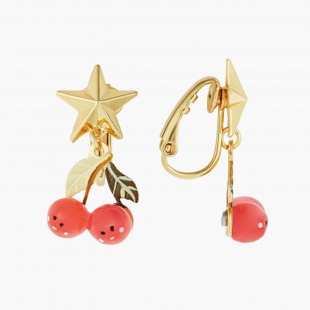 Dapper dog and fuchsia stone clip earrings