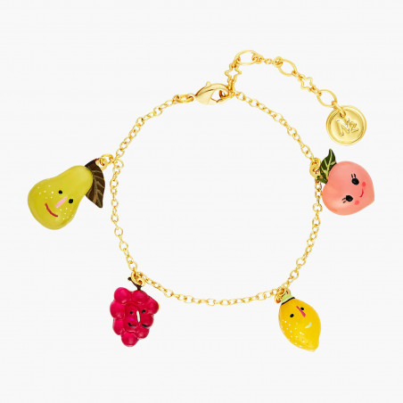 Purple flower and translucent faceted glass bracelet